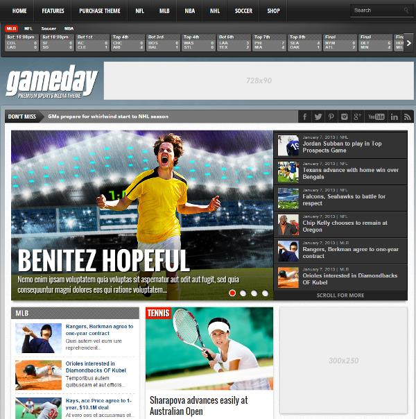 Free game wordpress sports themes