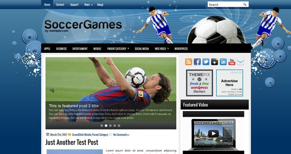 wordpress Soccer Games themes free
