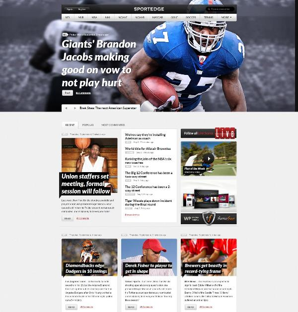wordpress sportsedge theme free