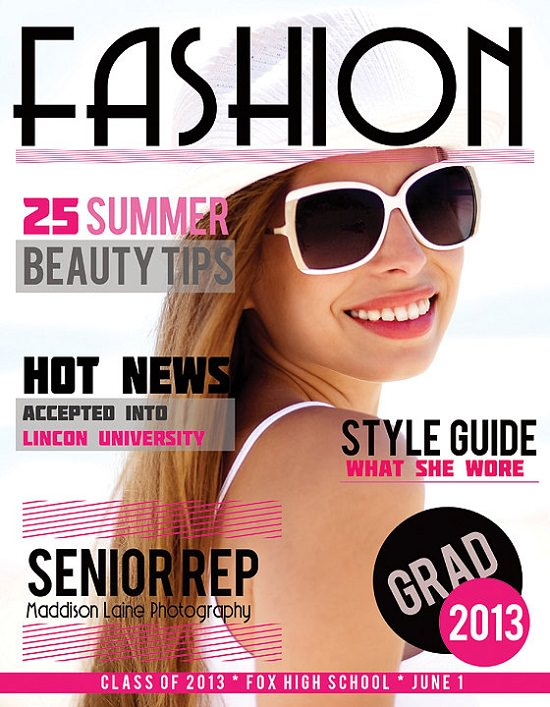 Fashion Senior Photoshop Template