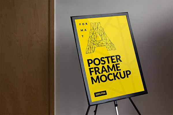 Free Frame Poster Mockup Yellow