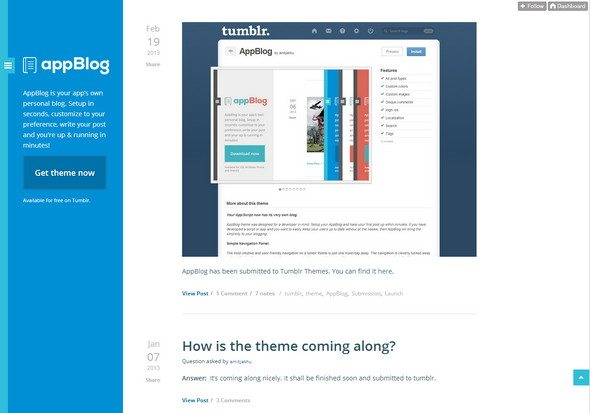 AppBlog responsive tumblr theme