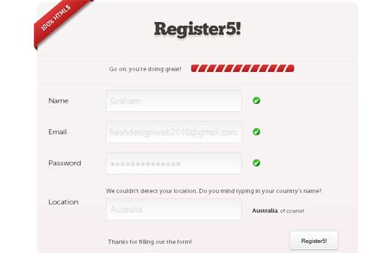 CSS HTML5 Register Form