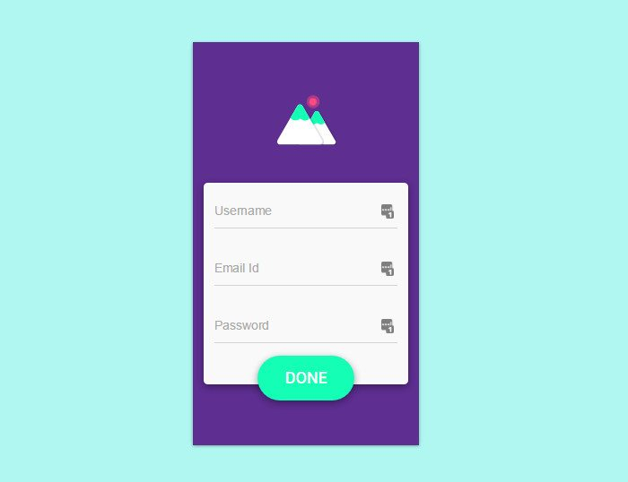 CSS Material Design Signup Interaction