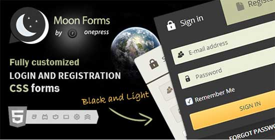 CSS Signup Moon Forms Login Registration