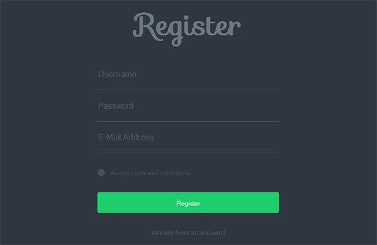 CSS Signup Simple Registration Black Form