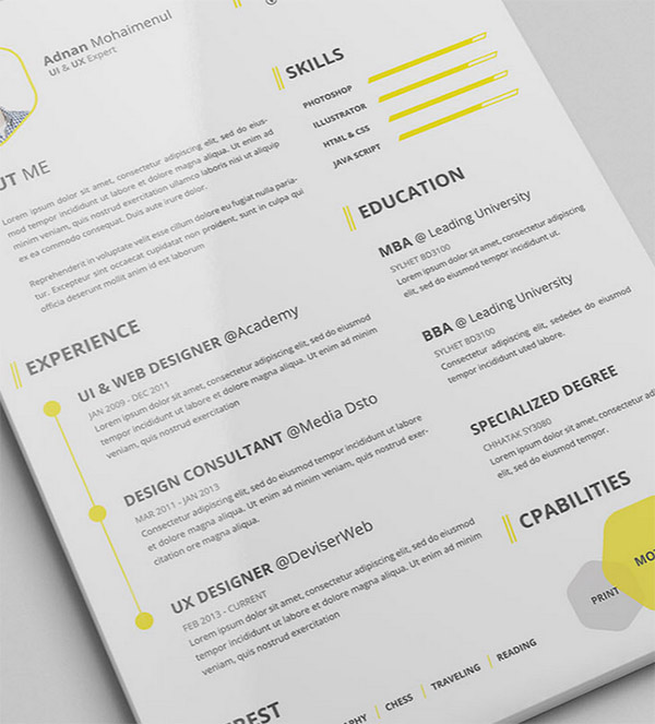 CV Resume PSD Indesign Resume Templates