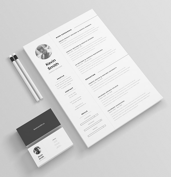 Clean Minimal Indesign Resume Templates