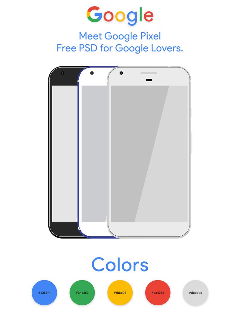 Colors google pixel free psd mockup
