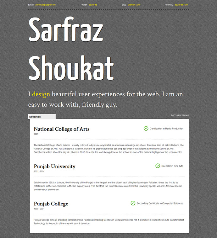 Creative CSS3 Indesign Resume Templates