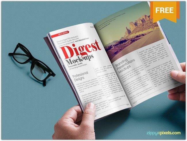 Digest size Magazine PSD Mockup