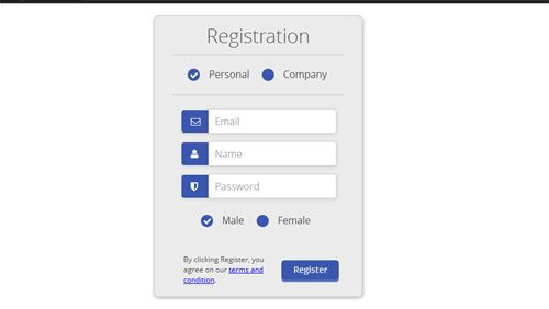 Download freeCss Registration Form