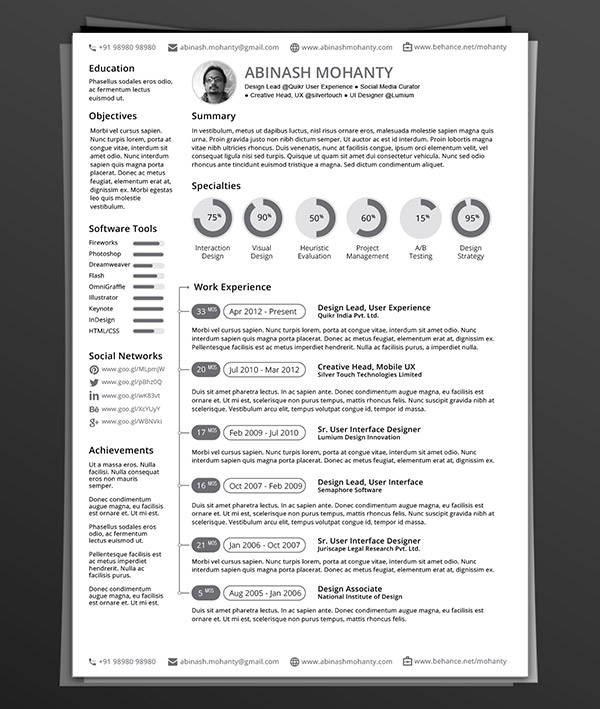 lovely resume template indesign 25 superb resume templates. Black Bedroom Furniture Sets. Home Design Ideas