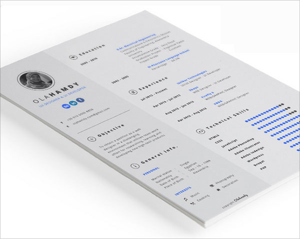Free Simple Resume Template   Free Cv Indesign Resume
