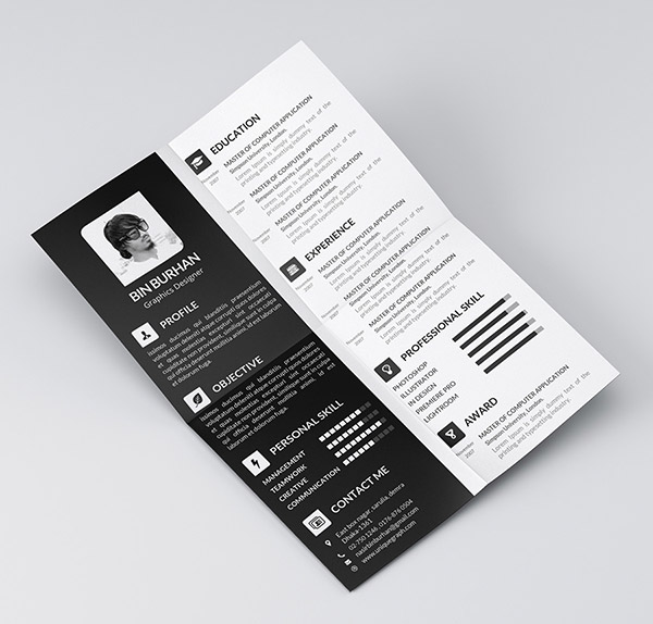 Freebie resume template with CV 2