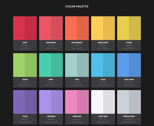 HTML5 CSS3 color palette