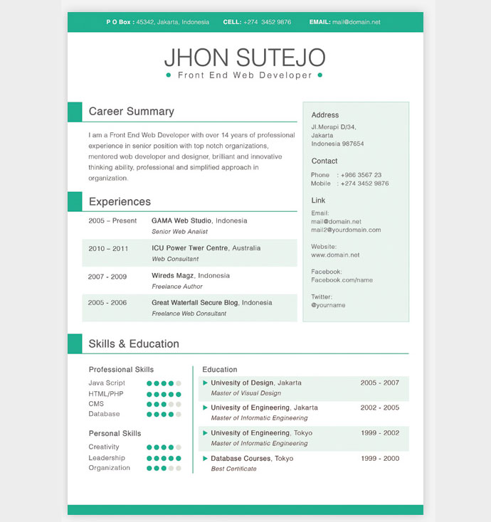Indesign Resume Templates 10