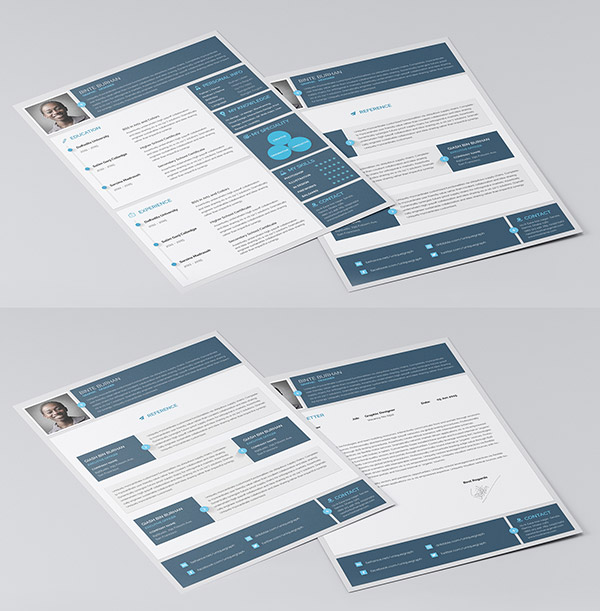Material Style Indesign Resume Templates