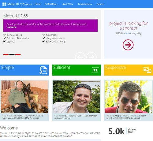 Metro HTML5 CSS3 UI Kit