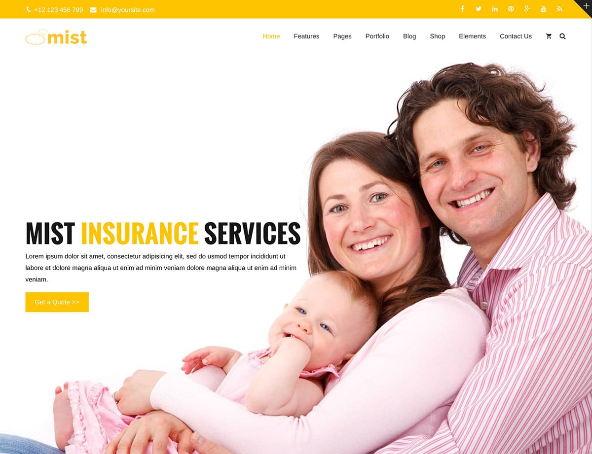 Mist Insurance WordPress Theme