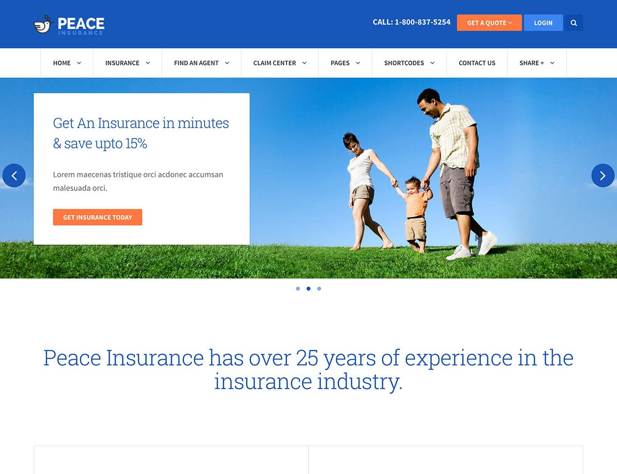 Peace Insurance WordPress Theme
