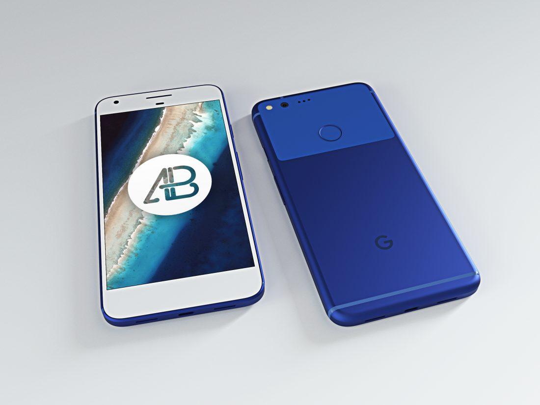 Realistic Really Blue Google Pixel XL Mockup
