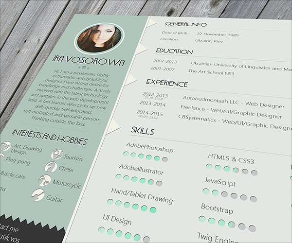 Resume PSD Indesign Resume Templates