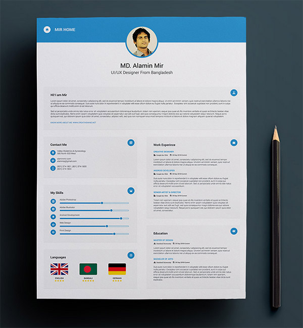 Resume with Business Card Indesign Resume Templates