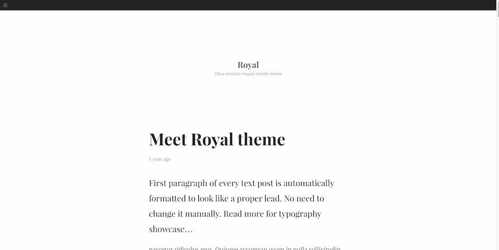 Royal free tumblr theme