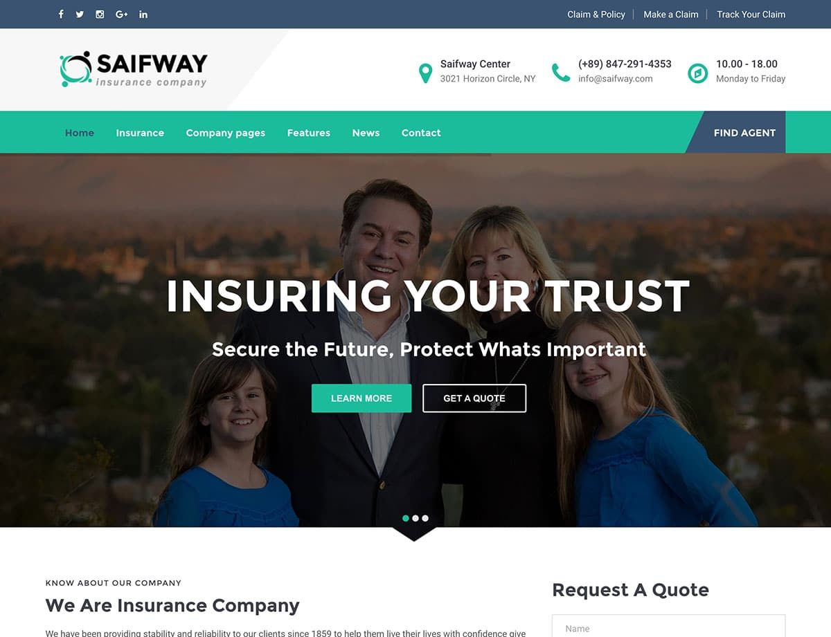 Saifway Insurance WordPress Theme
