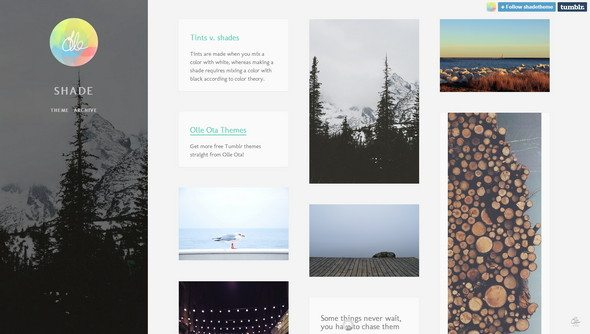 Shade free tumblr theme