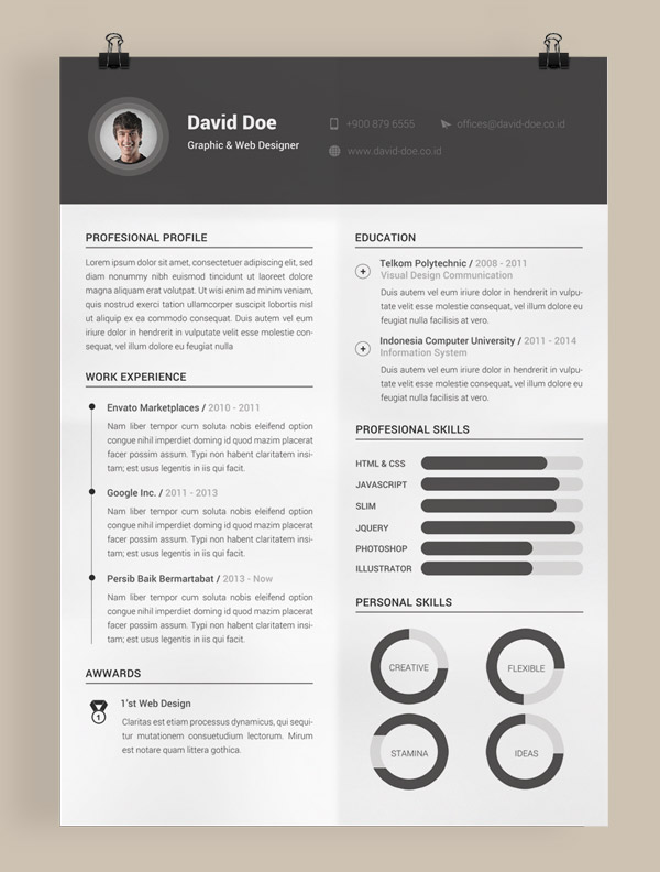 Simple Indesign Resume Templates