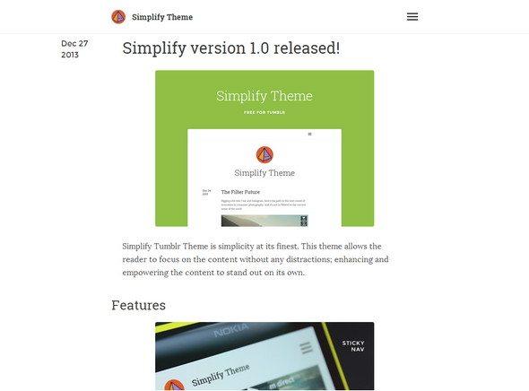 Simplify free Tumblr Themes download