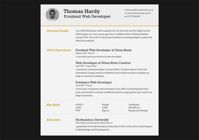 Thomas Hardy Curriculum Vitae Templates