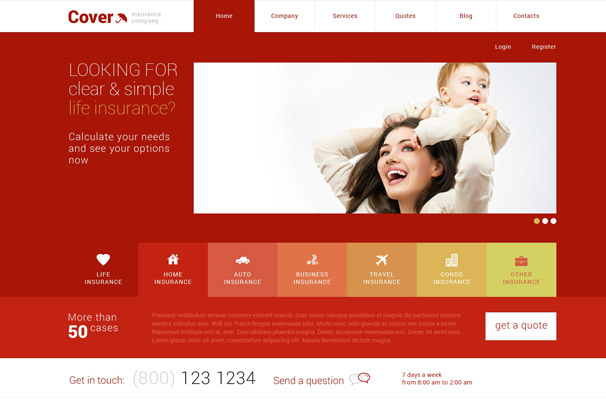 cover Insurance WordPress Theme