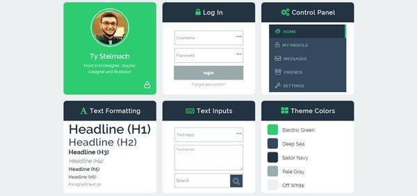 green HTML5 CSS3 UI Kit