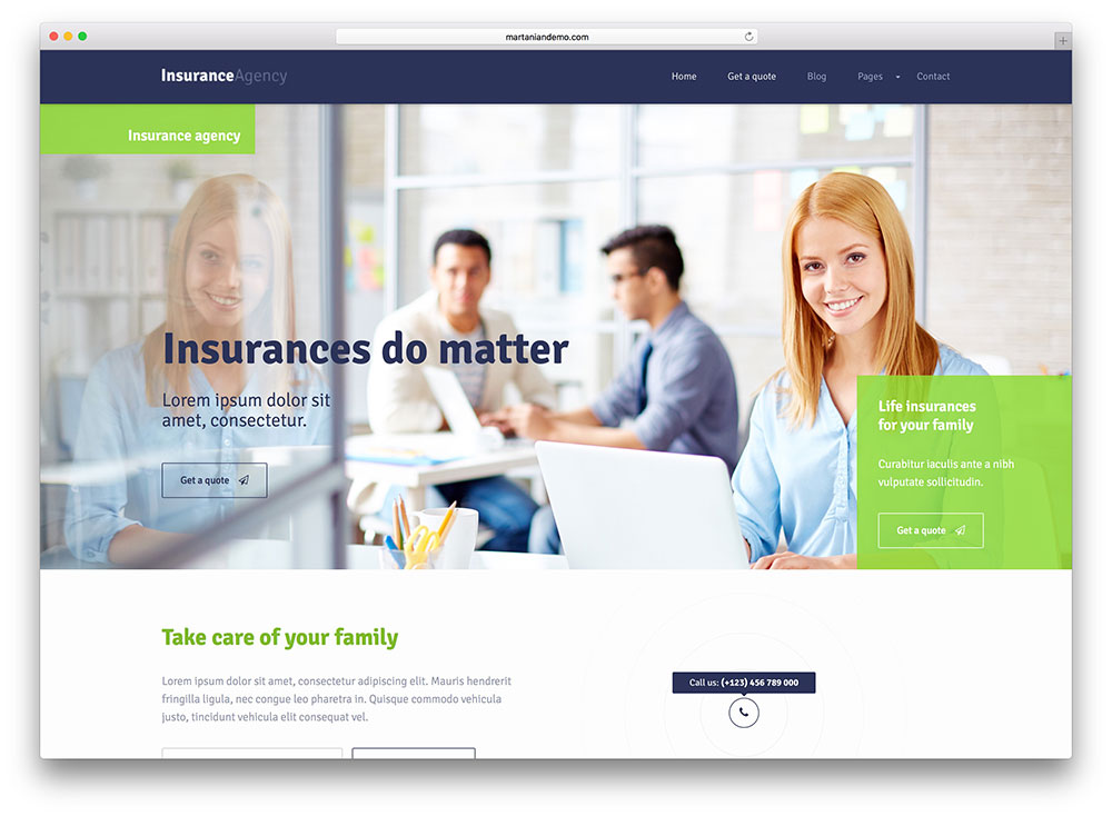 insurance agency wp theme