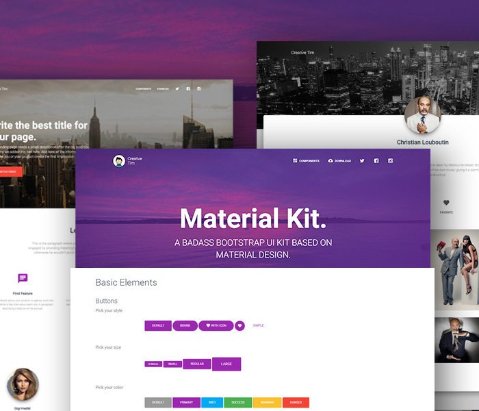 material HTML5 CSS3 UI Kit