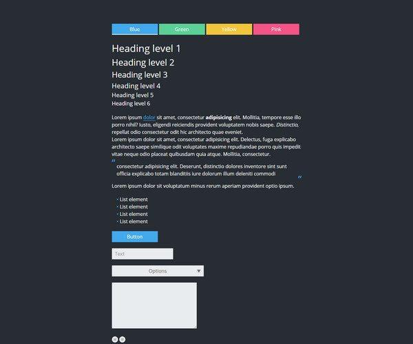 simple black HTML5 CSS3 UI Kit