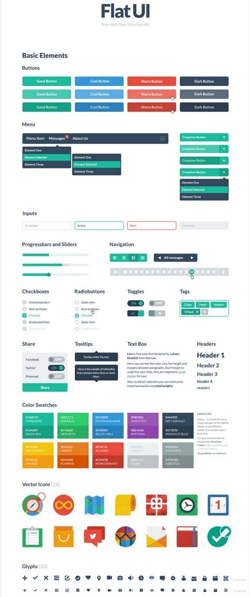 small flat HTML5 CSS3 UI Kit