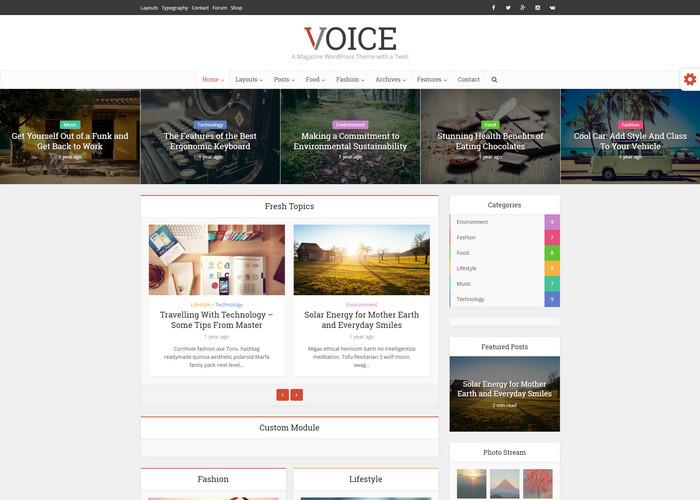 voice responsive WordPress theme