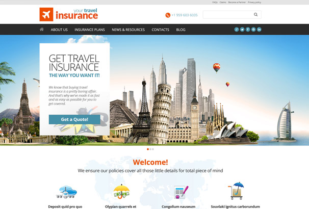 your travel Insurance WordPress Theme