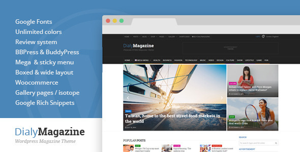 DialyMagazine Responsive Flat Design Template