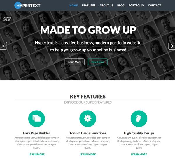 Hypertext Responsive Flat Design Template