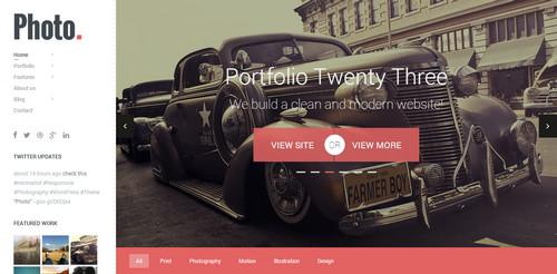 Photo WordPress site Responsive Flat Design Template