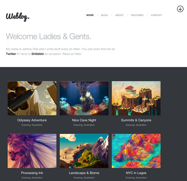 Weblog Responsive Flat Design Template
