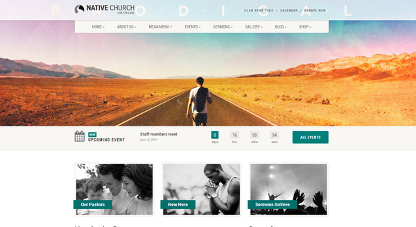 church theme Responsive Flat Design Template