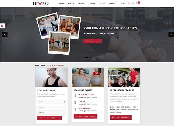 fitnesspro Responsive Flat Design Template