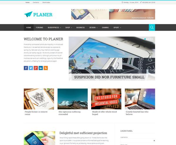 planer Responsive Flat Design Template