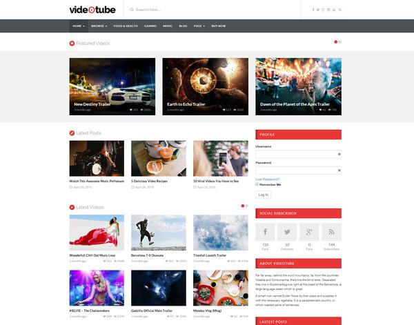 videotube Responsive Flat Design Template